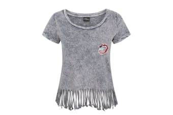 The Rolling Stones Womens/Ladies Fringe T-Shirt (Grey)