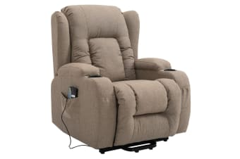 Electric Massage Chair Linen Fabric Recliner Sofa Lift Motor Armchair 8 Point Heating Seat