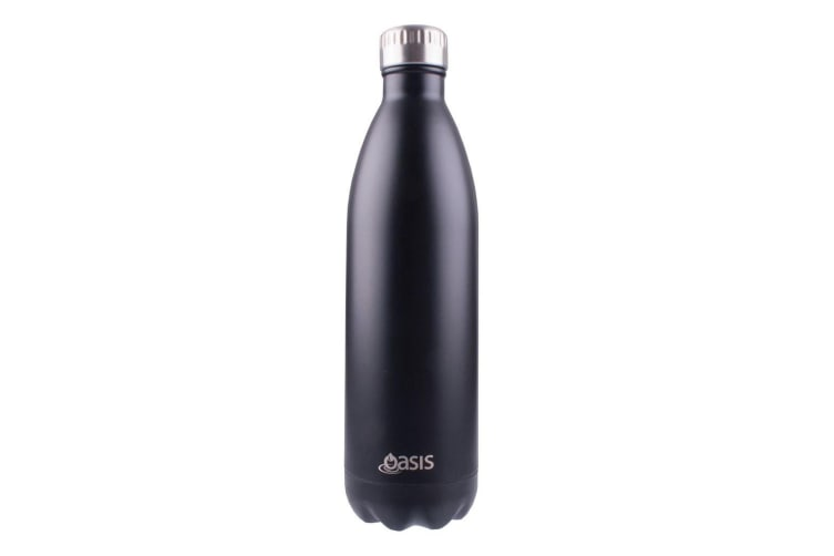 Oasis 1L Stainless Steel Double Wall Insulated Drink Bottle Matte Black