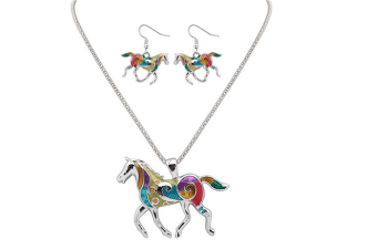 Trendy Fashion Rainbow Colored Horse Pendant Necklace With Earrings Jewelry Sets Silver