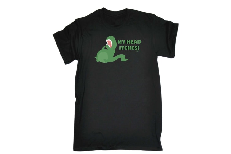 123T Funny Tee - My Head Itches - (X-Large Black Mens T Shirt)
