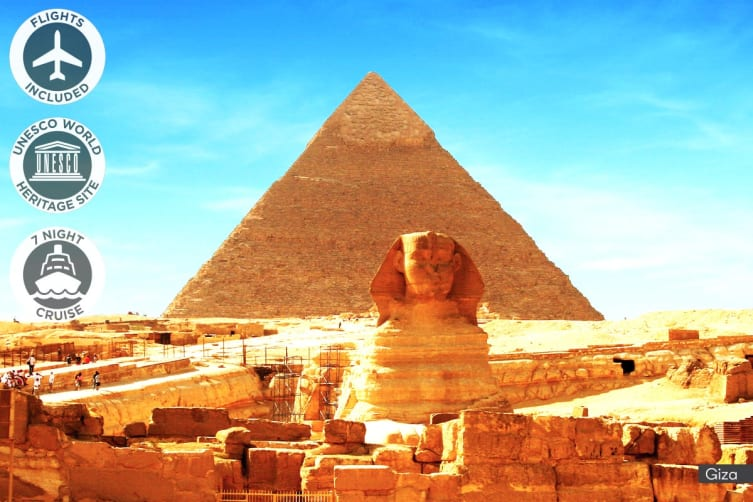 EGYPT: 12 Day Ancient Egypt Tour with Nile River Cruise Including Flights for Two