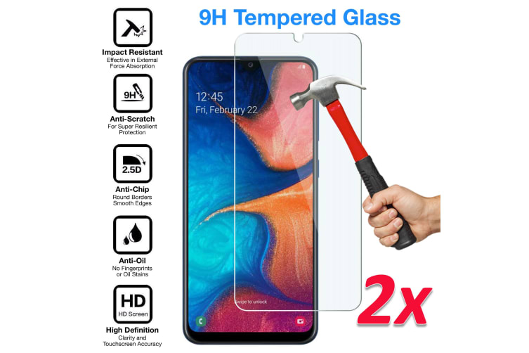 [2 Pack] Samsung Galaxy A30 Tempered Glass Crystal Clear Premium 9H HD Screen Protector by MEZON – Case Friendly, Shock Absorption (A30, 9H)