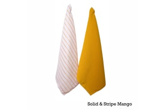 Set of 2 Solid and Stripe Microfiber Tea Towels Mango by IDC Homewares