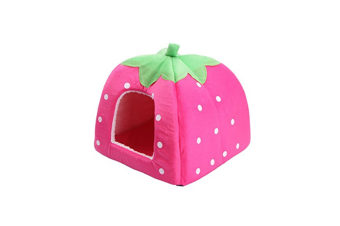 Strawberry Style Sponge House Pet Bed Dome Tent Warm Cushion Basket Pink Xxl