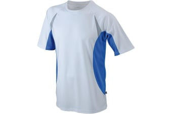 James and Nicholson Mens Running Top (White/Royal Blue) (L)