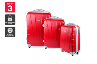 Orbis 3 Piece Hardside Spinner Luggage Set (Strawberry)