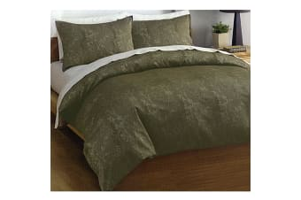 Leaves Jacquard Olive (Mint) Quilt Cover Set by Deco
