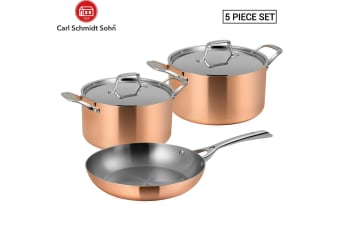 Lassani LASSANi Tri-ply Copper Set of 5 Cookware Frypan 26cm Casserole 20/24cm