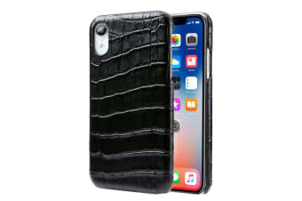 For iPhone XR Case Black Genuine Crocodile Leather Back Shell Cover