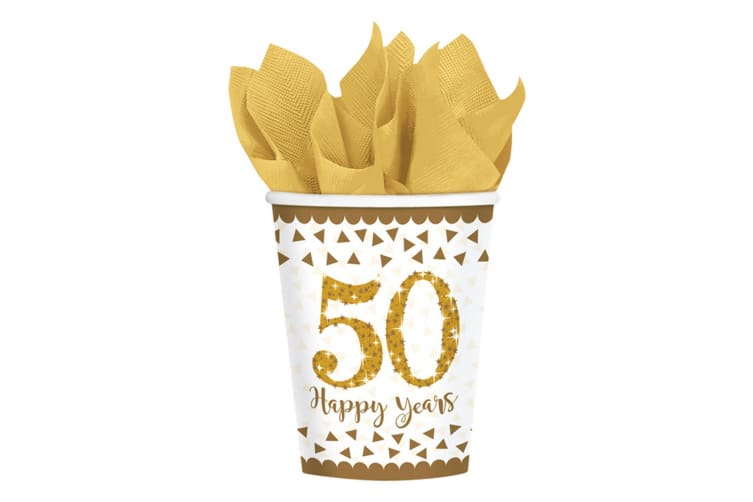 Amscan Gold Anniversary Cups (Pack Of 8) (White) (266ml)