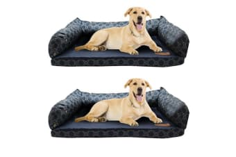 2PK Paws & Claws 70cm Fremantle Foam Base Sofa Pet/Dog Bed Mattress Navy Blue
