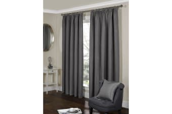 Paris Fully Lined Pencil Pleat Ribbed Curtains (Silver) (46 x 54 (117cm x 137cm))