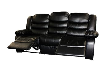 Bonded Leather Dream 3 Seater Recliner Couch (Black)