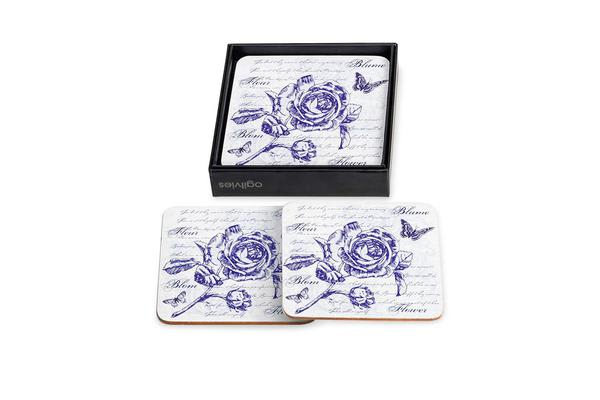 Ogilvies Designs Blue Blooms Coasters Set of 6