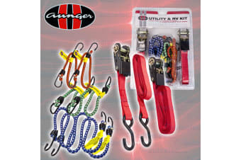 Aunger Combo Tie Downs Anchor Kit 2X 3.5 Metre 180Kg Ratchets 6X Occy Straps New