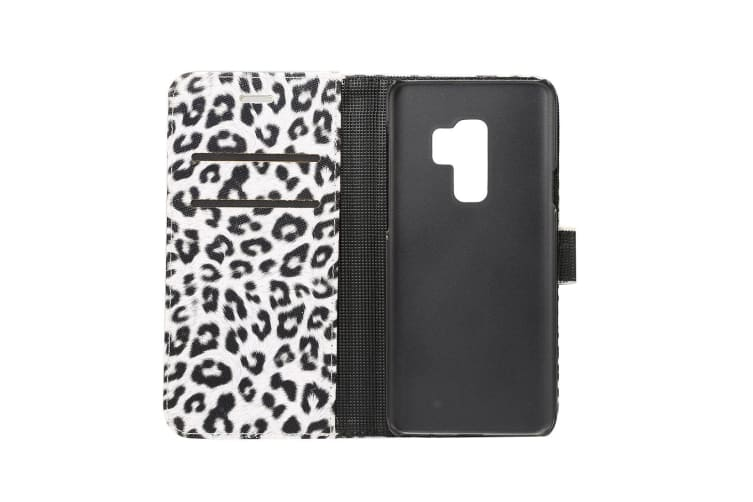 For Samsung Galaxy S9 PLUS Wallet Case  Leopard Pattern Leather Cover White