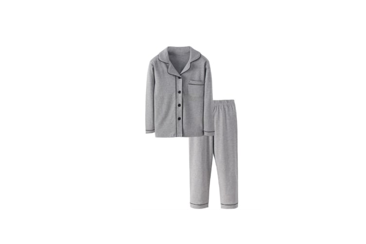 2Pcs Unisex Pajamas Suit Children Pajamas Long-Sleeved Pajamas Clothes - Grey Grey 150Cm