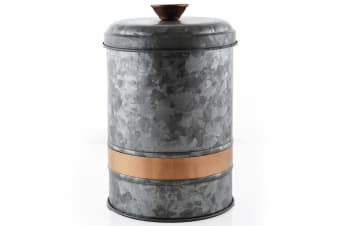 ThirstyStone Large 25x17cm Galvanized Iron Canister Jar Food Storage Container