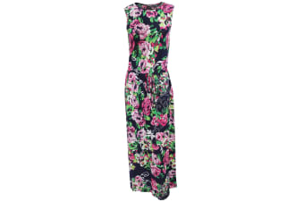 Womens/Ladies Sleeveless Rose Print Maxi Summer Dress (Navy/Flowers)