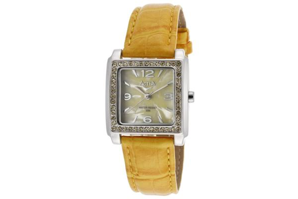 Activa Women's Yellow Pearl Tone Dial Yellow Leatherette (ACTIVA-SL291-002)