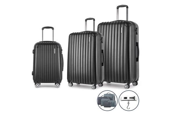 3 Piece Luggage Suitcase Trolley (Black)