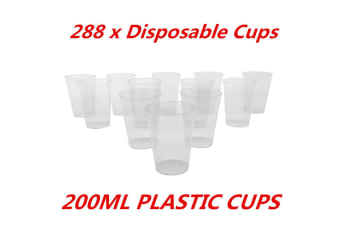 288 x 200ml Disposable Clear Hard Plastic Tumblers Cups Cup Party Wedding Events