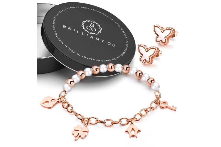 Boxed 18ct Rose Gold Charm Bracelet and Butterfly Earrings Set