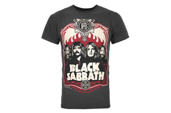 Amplified Official Mens Black Sabbath Poster T-Shirt (Charcoal)