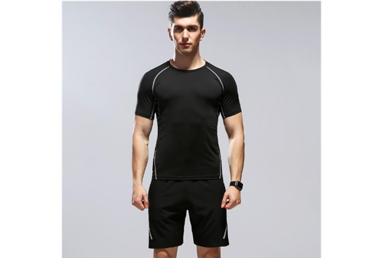 Mens Sport Short Sleeve T-Shirt Athletic Pants Sweatsuits 2 Pcs Black M