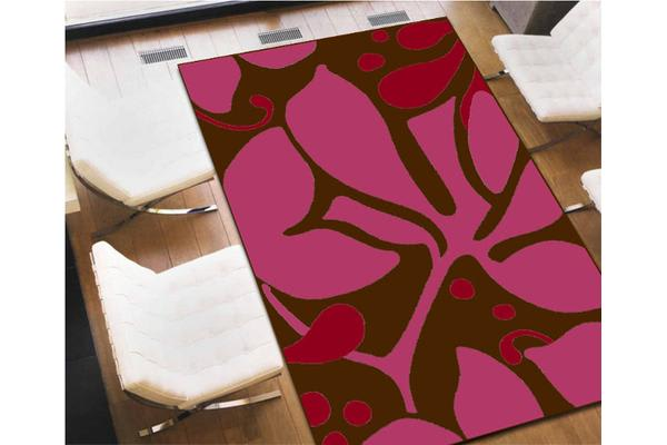 Flower Pattern Rug Brown Magenta Red 230x160cm