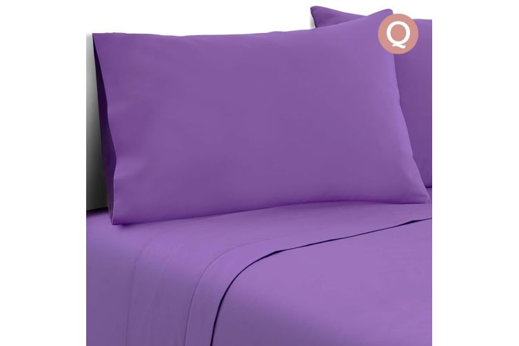 Giselle Bedding Queen Size 4 Piece Micro Fibre Sheet Set - Purple