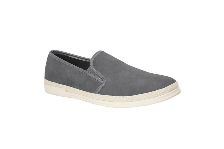 Route 21 Mens Faux Suede Twin Gusset Casual Shoe (Grey) (8 UK)