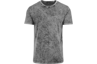Build Your Brand Mens Acid Washed Tee (Grey/Black)