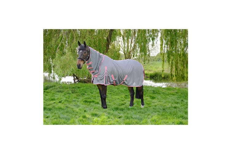 Hy Protect Full Neck Fly Rug (Grey/Coral) (5ft 6)