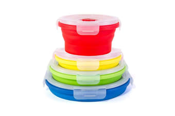 Set Of 4 Collapsible Containers Round Silicone Food Storage Containers 4Pcs