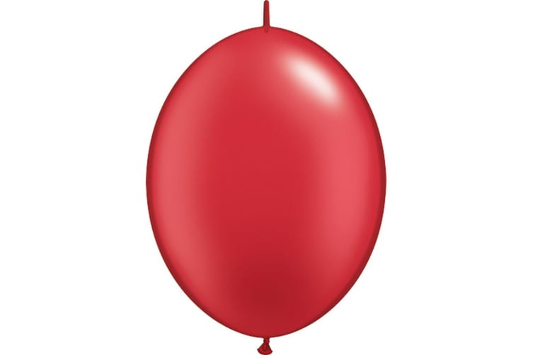 Qualatex Quick Link Plain Latex Balloons (Pack Of 50) (Pearl Ruby Red) (One Size)