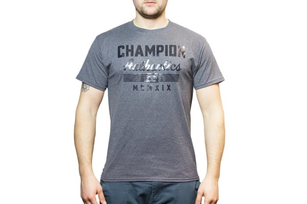 Champion Men's Graphic Jersey Tee - Granite Heather/Firework (Size M)