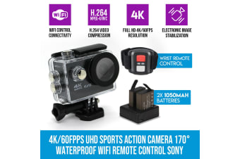 Elinz 4K/60FPS UHD Sports Action Camera 170 degree Waterproof WiFi Remote Control Sony 1080P