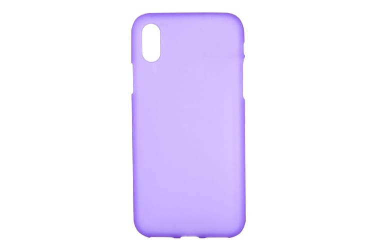 For iPhone XS X Case Purple Frosted Solid Colour TPU Back Cover Cover