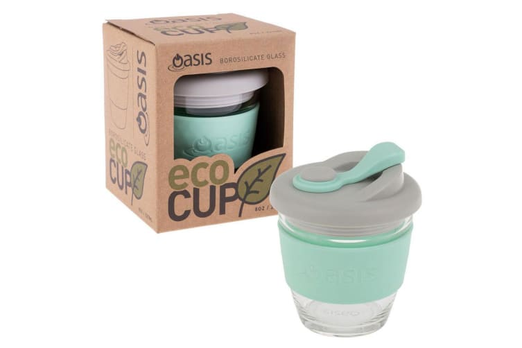 Oasis 227ml Borosilicate Glass Hot Cold Drinking Eco Cup Coffee Mug Spearmint