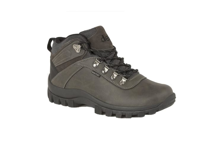 Dek Mens Derwent PU Suede Leather Padded Laced Ankle Walking Boot (Grey) (4 UK)