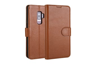 For Samsung Galaxy S9+ PLUS Case Fashion Wallet Cow Genuine Leather Cover Coffee