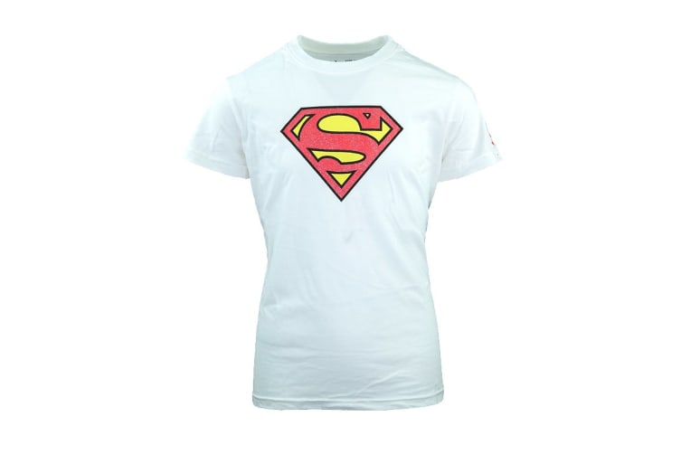 Under Armour Girls' Superhero T-Shirt (Super Girl White/Pink, Size M)