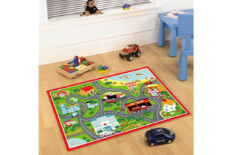 Kids Non Slip Road Map Beach Rug Red 150x100cm