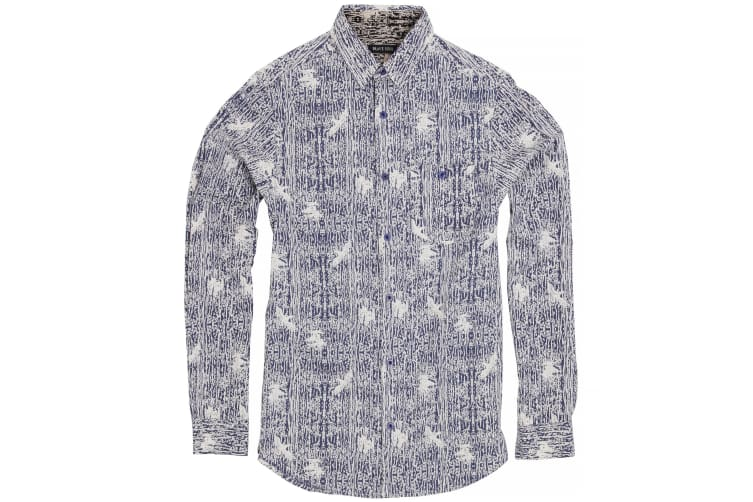 Brave Soul Mens Idris Long Sleeve All Over Patterned Shirt (Ink/ Optic White) (XL)