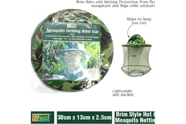 MOSQUITO HEAD NET Mask Mesh Hat Mozzie Netting Camping Fits Over Hats AU