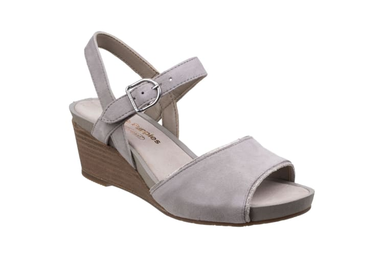 Hush Puppies WomensLadies Cassale Buckle Ankle Strap Wedge Leather Sandals (Grey) (8 UK)