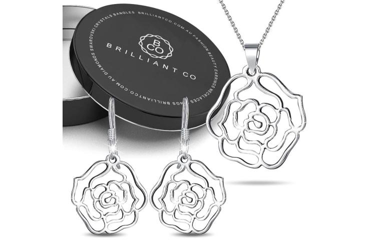 Boxed .925 Rose French Necklace and Earrings Set