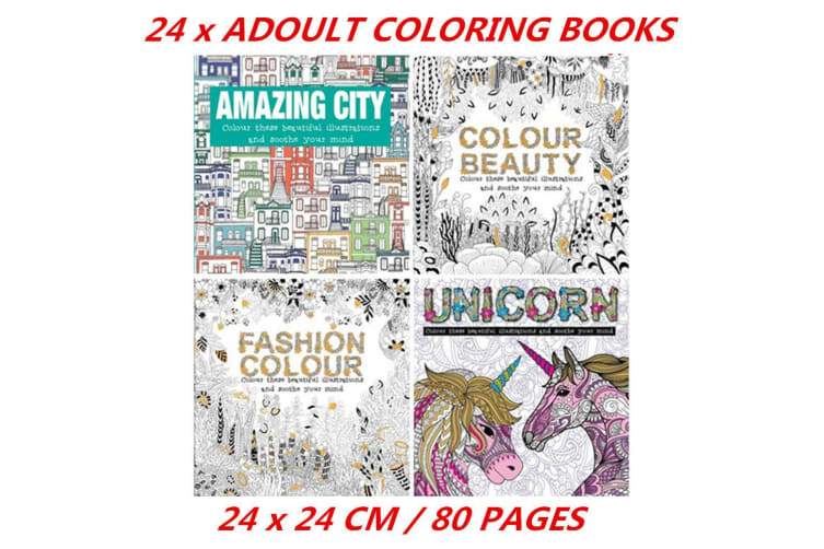 24 x 80 Pages Coloring Books for Adults City Fashion Beauty Unicorn 24x24cm